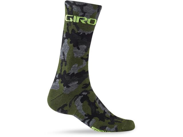 Giro Seasonal Merinowolle Socken camo/highlight yellow